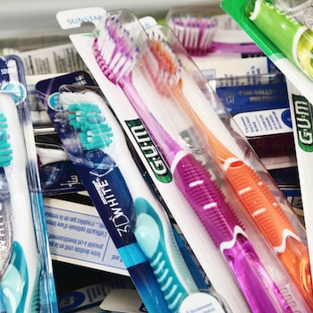 Lots of toothbrushes to show how we offer oral hygiene as part of general dentistry