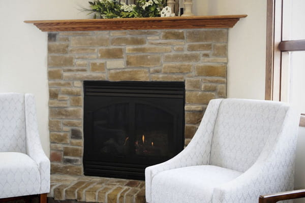 Fox Valley waiting room fireplace