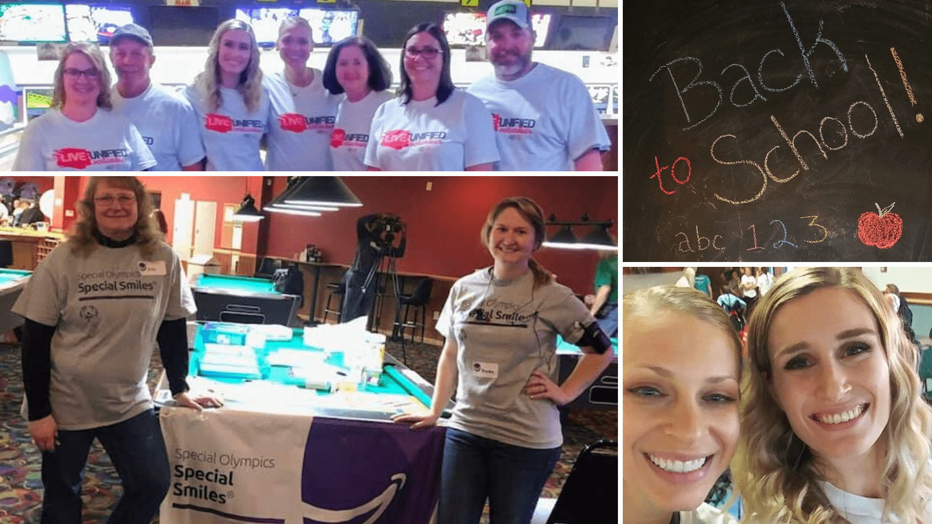 Collage of the Fox Valley Dental team participating in several charity events, supply drives, fundraisers, and community events