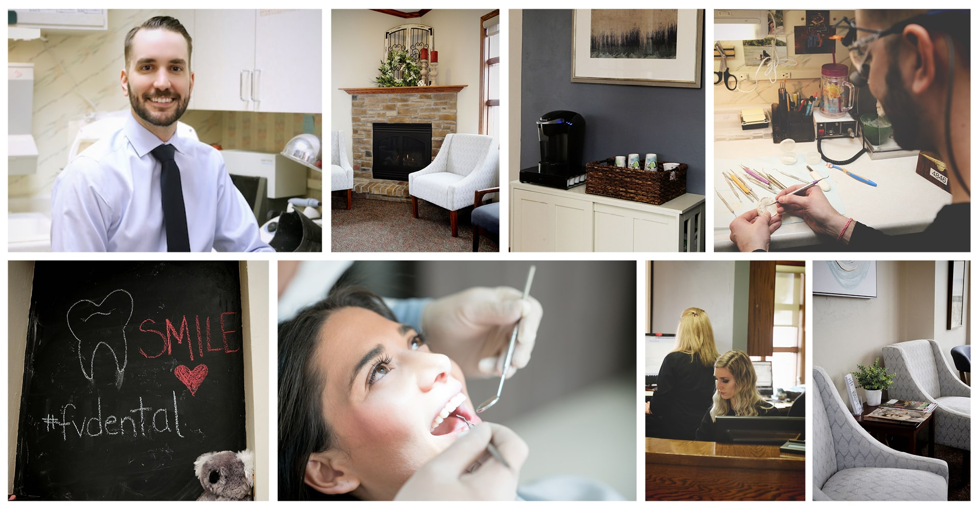 Collage of the Fox Valley Dental staff and practices